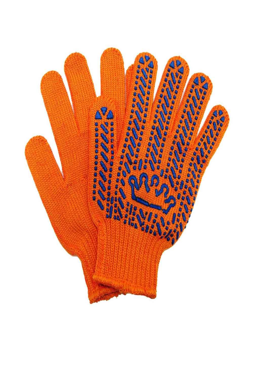 Рукавички трикотажні з ПВХ крапкою «Корона» помаранчеві